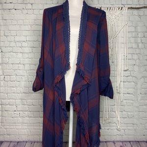 Knox Rose maroon and blue fringed kimono